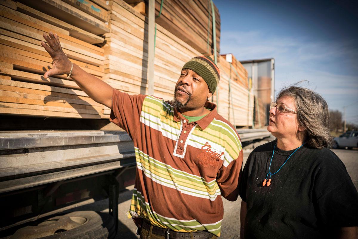 Photo of workers selecting hardwood